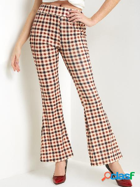 Brown plaid wide leg mid waist pants