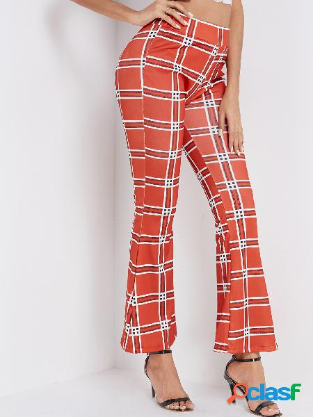 Red plaid wide leg mid waist pants