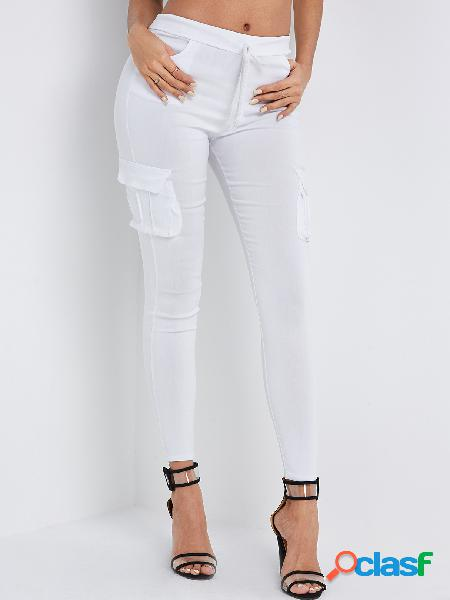 White side pockets plain drawstring waist skinny cargo pants