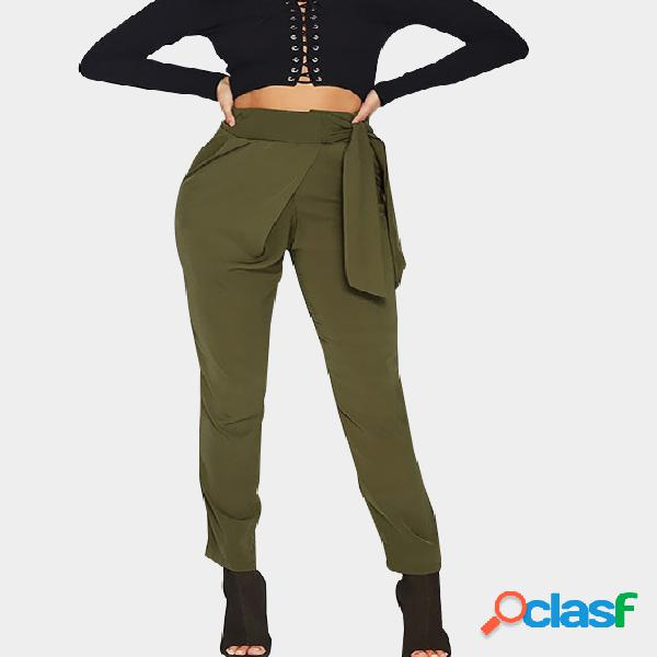 Army green skinny leg high waist pants with tie