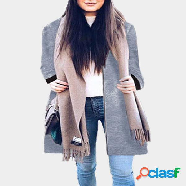 Grey two side pockets long sleeves outerwear