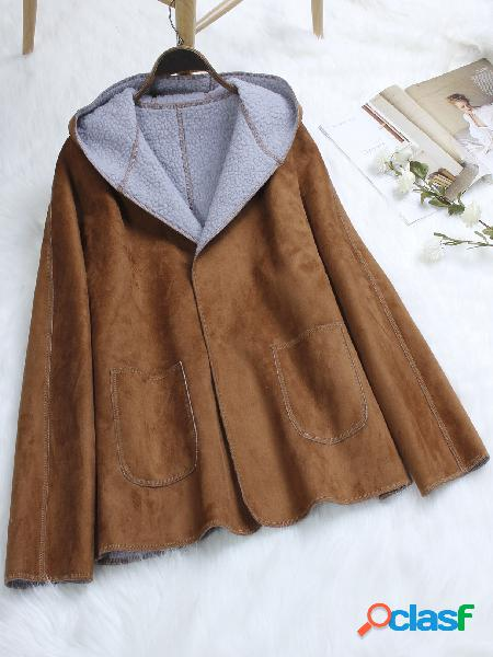 Brown Hooded Design Plain Lapel Collar Long Sleeves Coat With Patch Pockets