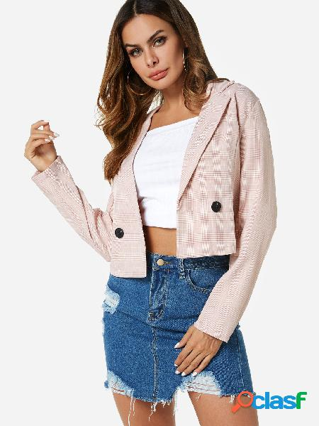 Pink button design grid lapel collar long sleeves blazers