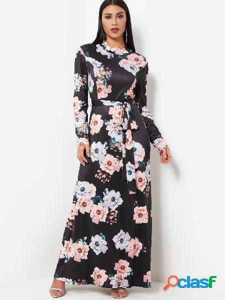 Black Round Neck Long Sleeves Self-Tie Waist Floral Print Maxi Dress