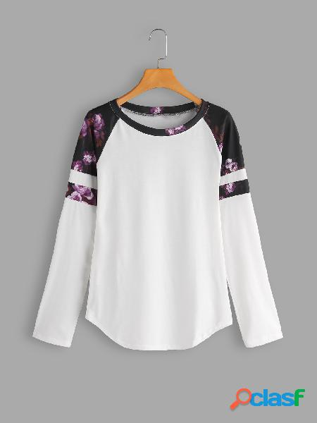 Color block floral print round neck long sleeves t-shirts