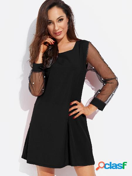 Black round neck long sleeves see through mesh dress