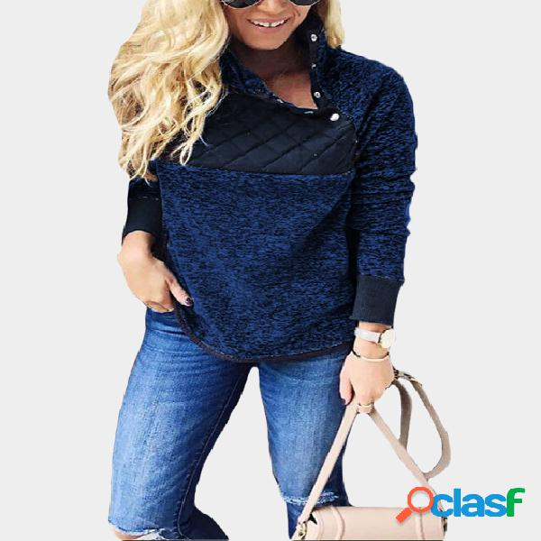 Blue color block button design high neck long sleeves sweatshirts