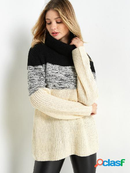 Color block cable knit round neck long sleeves sweater