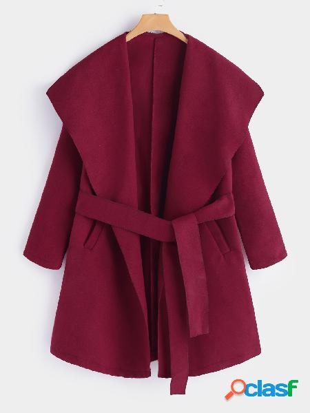 Burgundy self-tie design lapel collar long sleeves long trench coat