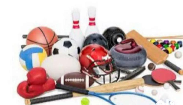 Sports items, cricket,cares,chess,foot ball,all available in