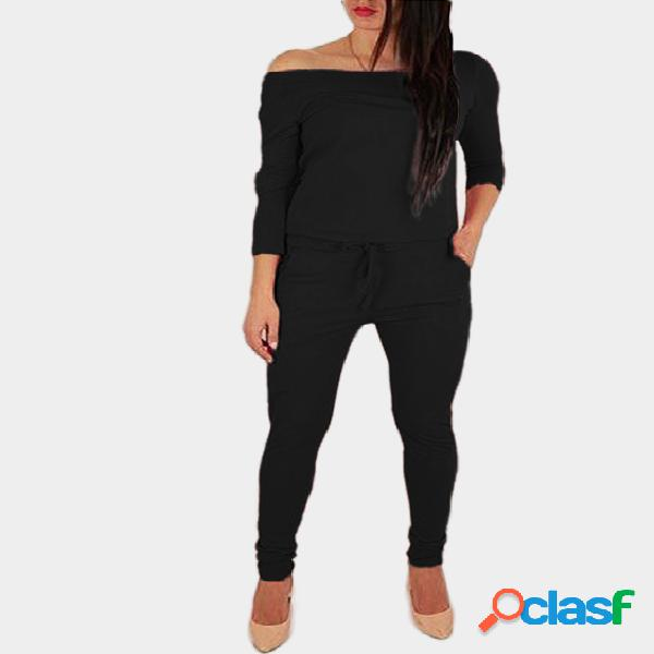 Black off the shoulder long sleeves drawstring waist jumpsuit