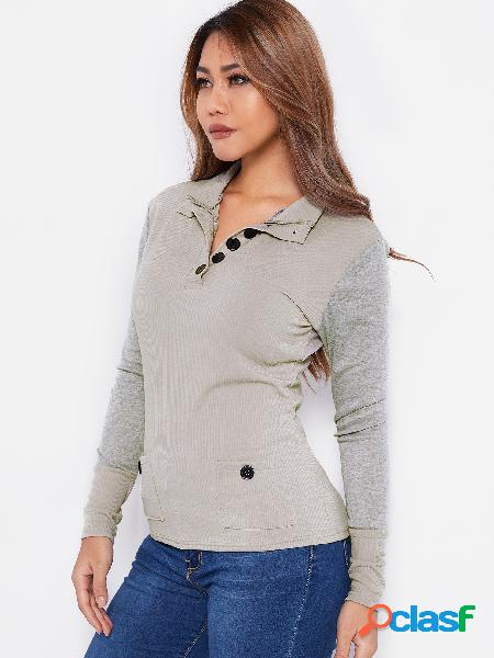 Grey button design lapel collar long sleeves t-shirt with patch pockets