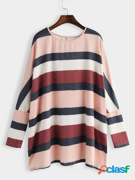 Color block stripe round neck bat sleeves loose t-shirts