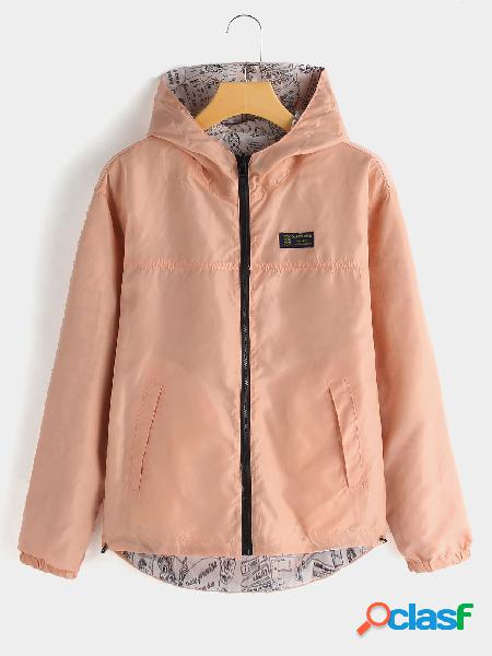 Pink hooded design zip front closure long sleeves coat with slip pockets