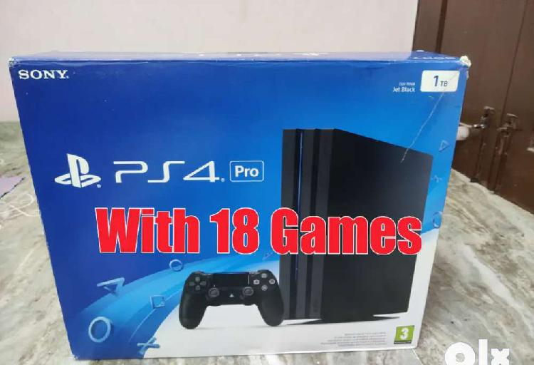 Sony playstation ps4 pro with 15 latest games box peice good