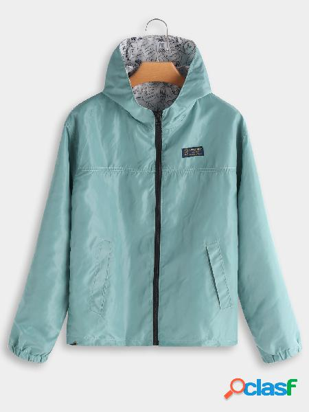 Green hooded design zip front closure long sleeves coat with slip pockets