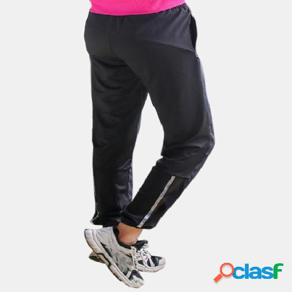 Active Contrast Color Stitching High Waisted Pants in Black