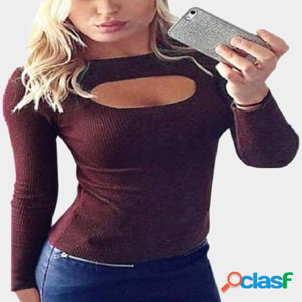 Burgundy knitted round neck hollow front design bottoming t-shirt