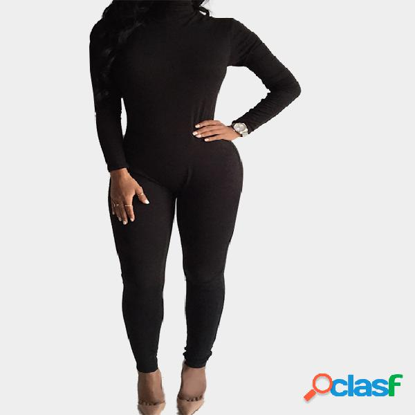 Perkins collar bodycon jumpsuit with back zippper design in black