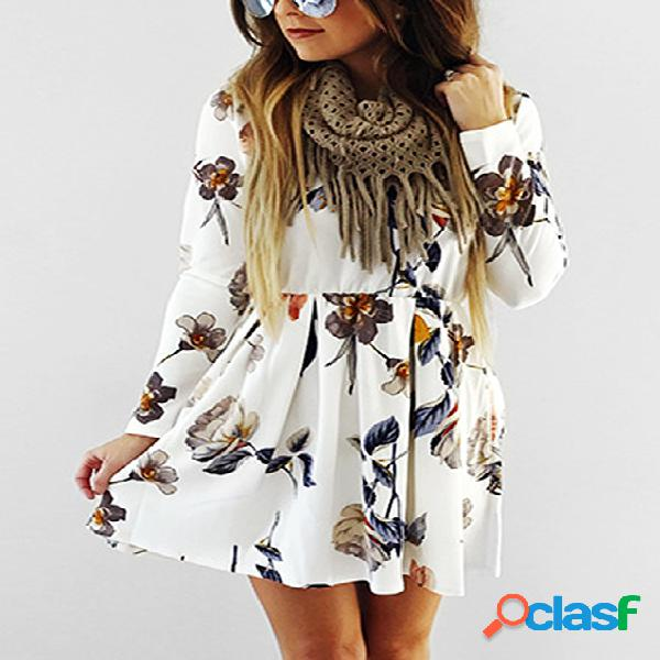 Creamy-white floral print round neck long sleeves high-waisted dresses