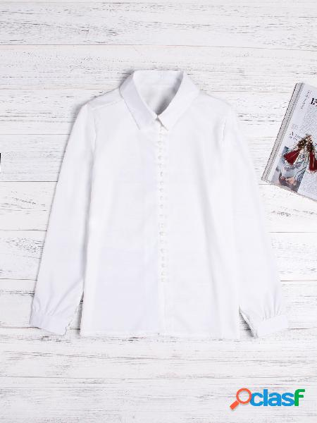 White lapel collar long sleeves blouse