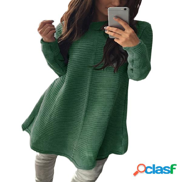 Green stripe knitted round neck long sleeves casual dress