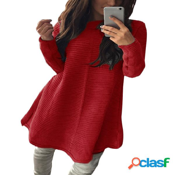 Red stripe knitted round neck long sleeves casual dress