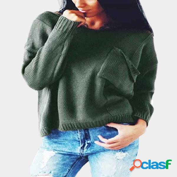 Green ripped details plain v-neck long sleeves sweaters