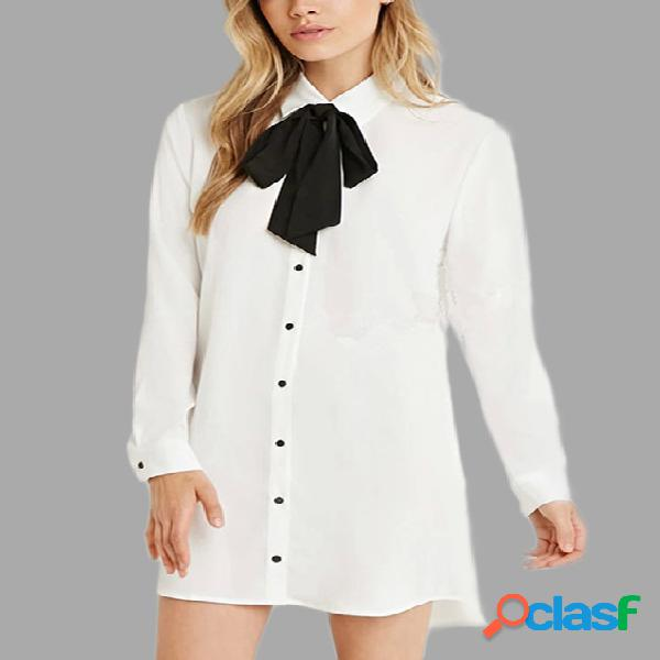 White classic collar long sleeves bowknot dress