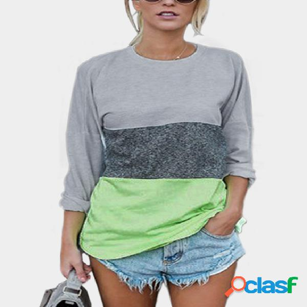 Green patchwork round neck long sleeves t-shirt