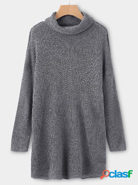Grey roll neck long sleeves sleeves dropped shoulder sweater