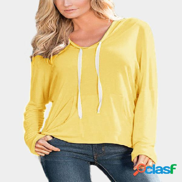 Yellow hooded design pullover jumper