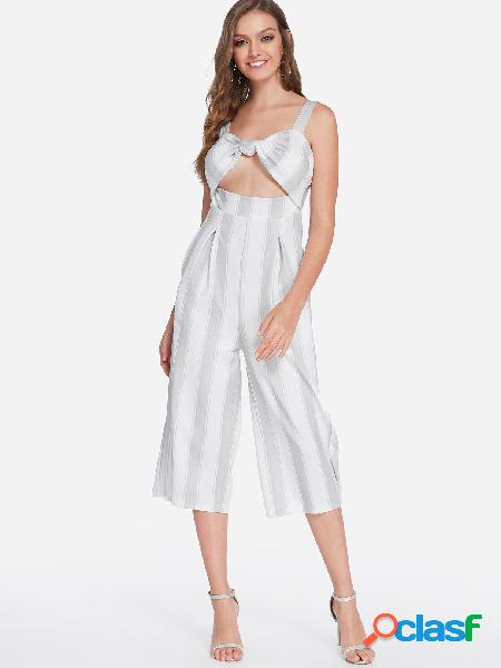 Grey bowknot backless design stripe middle-waisted jumpsuit