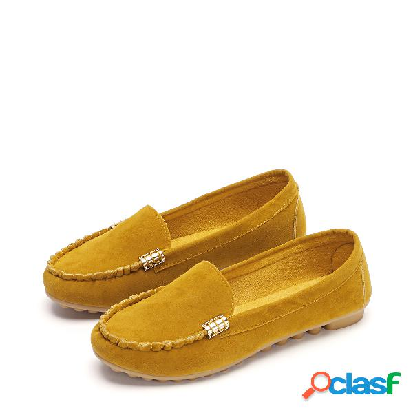 Yellow plain design round toe moccasin loafers