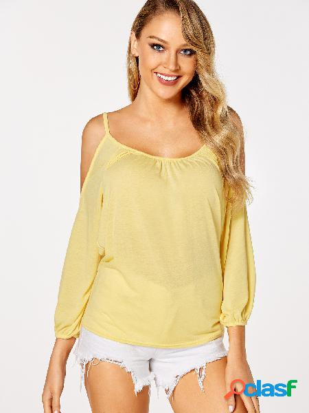 Yellow pleated design plain cold shoulder long sleeves blouses