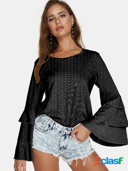 Black round neck long bell sleeves blouse