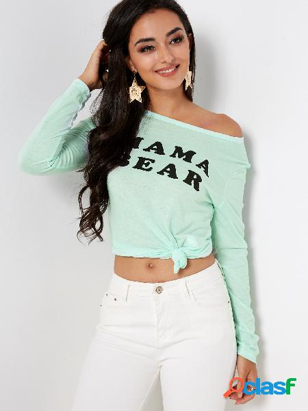 Green printed round neck long sleeves t-shirt