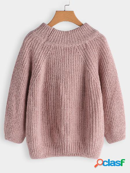 Pink plain off the shoulder long sleeves loose fit sweaters