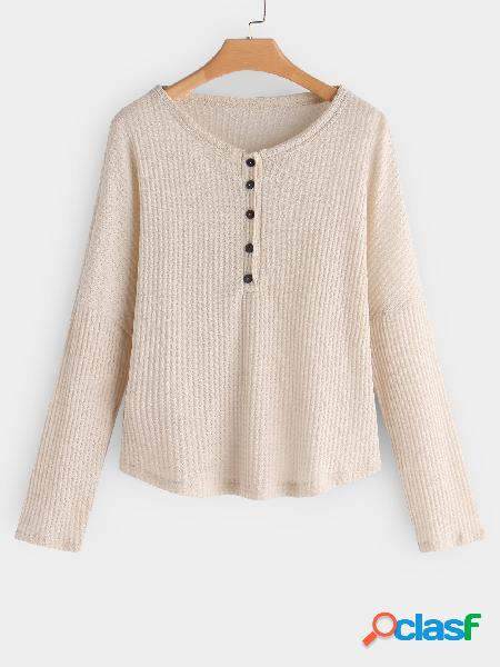 Apricot button design plain round neck long sleeves knitted t-shirts