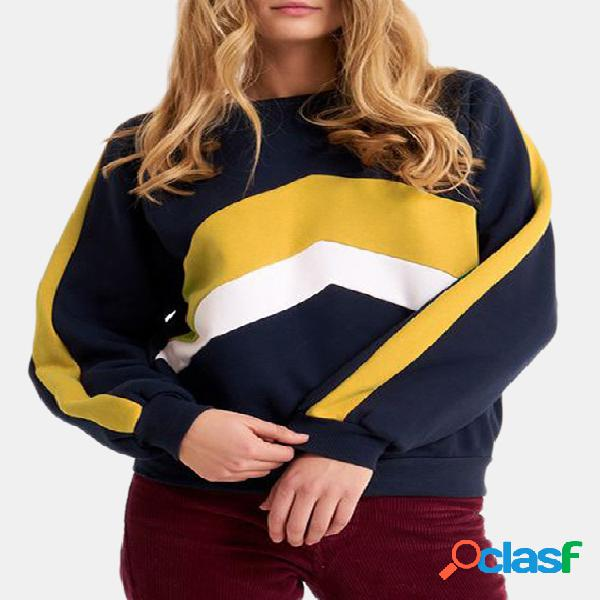 Color block stripe round neck long sleeves sweatshirts