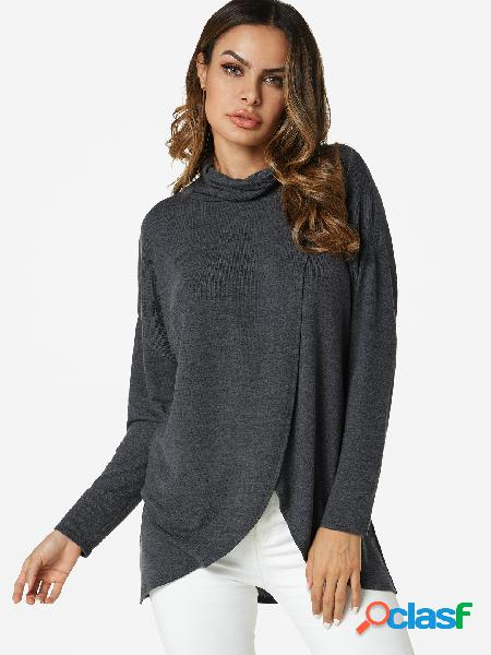 Grey crossed front design turtleneck cut out t-shirt