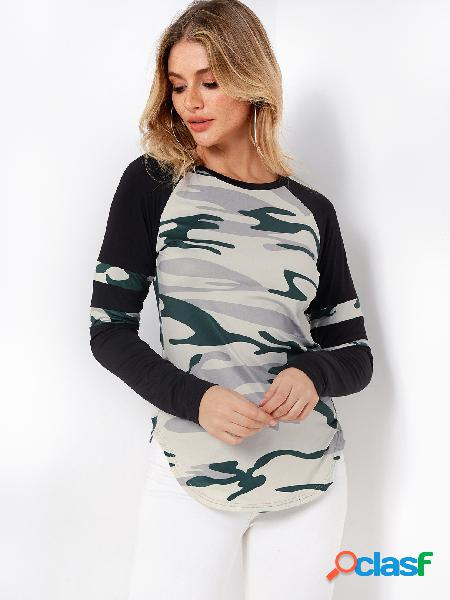 Camouflage color block round neck long sleeves curve hem t-shirts