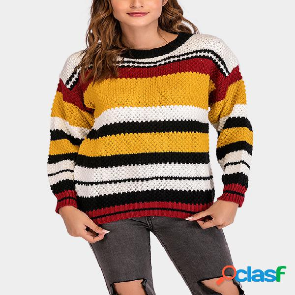 Color block stripe round neck long sleeves sweater