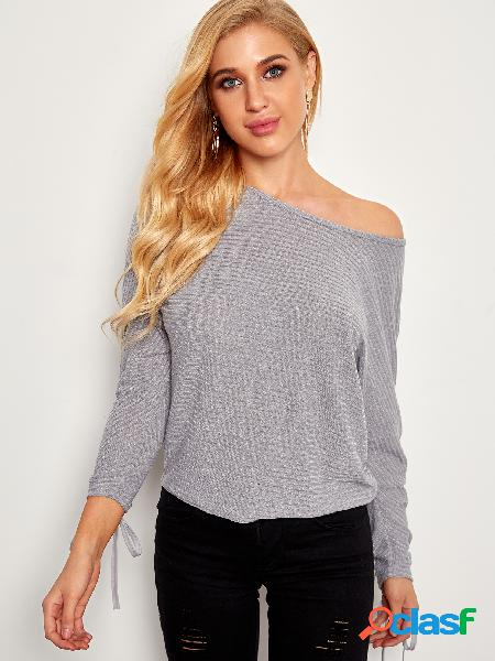 Grey tie-up design plain round neck long sleeves rib sweaters