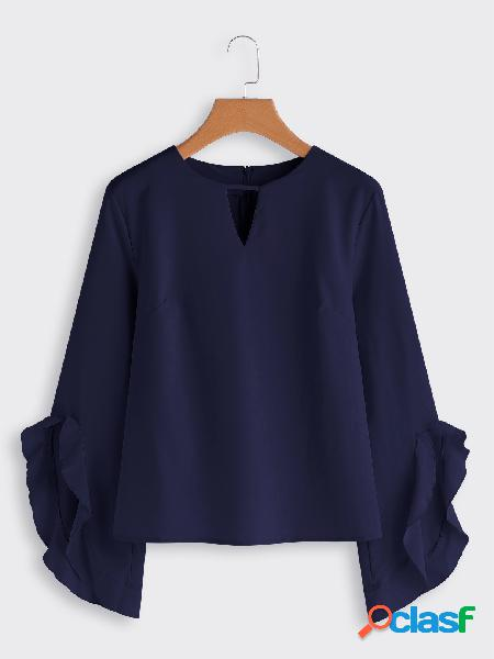 Navy cut out plain crew neck flared long sleeves blouses