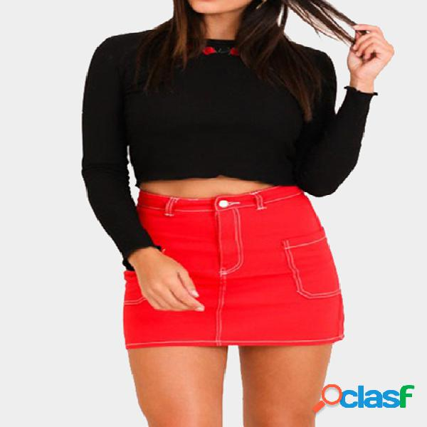 Black embroidered long sleeves bodycon crop t-shirt