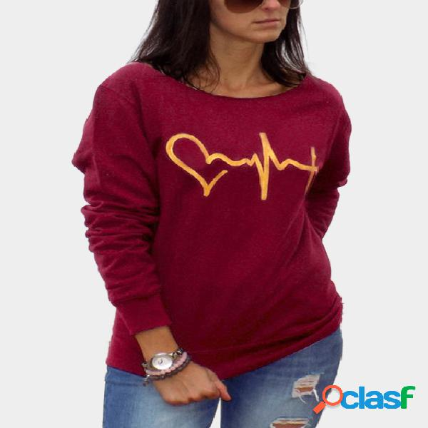 Burgundy casual round neck electrocardiogram t-shirts