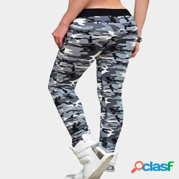 Grey button design camouflage pattern pencil trousers