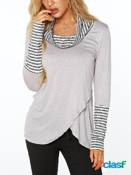 Grey roll neck stripe details overlay front t-shirts