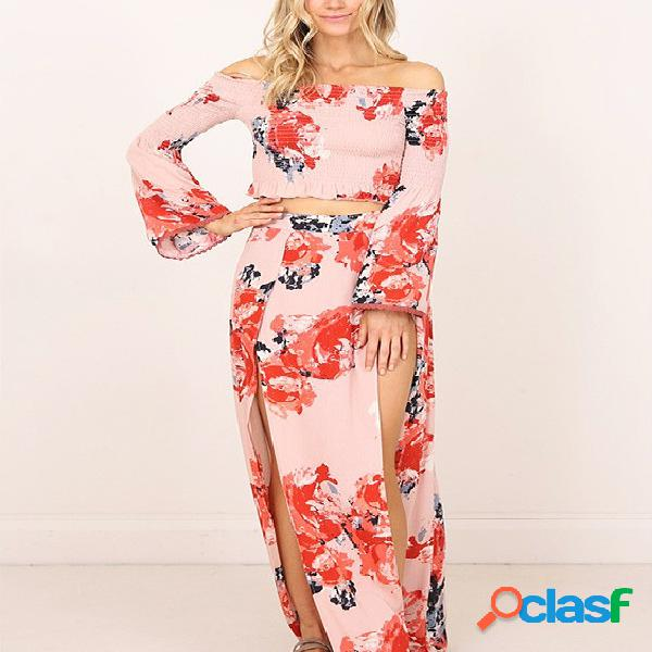 Multi Slit Design Floral Print Off The Shoulder Long Sleeves Two Piece Outfits